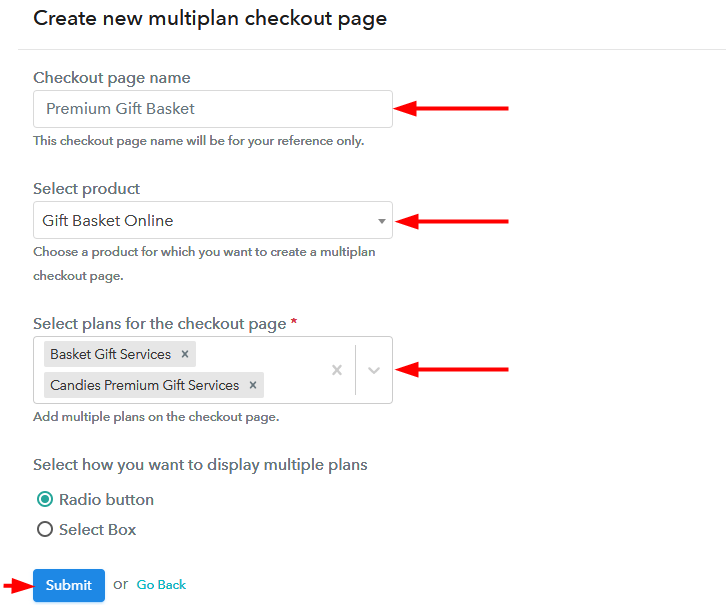 creating multiplan checkout