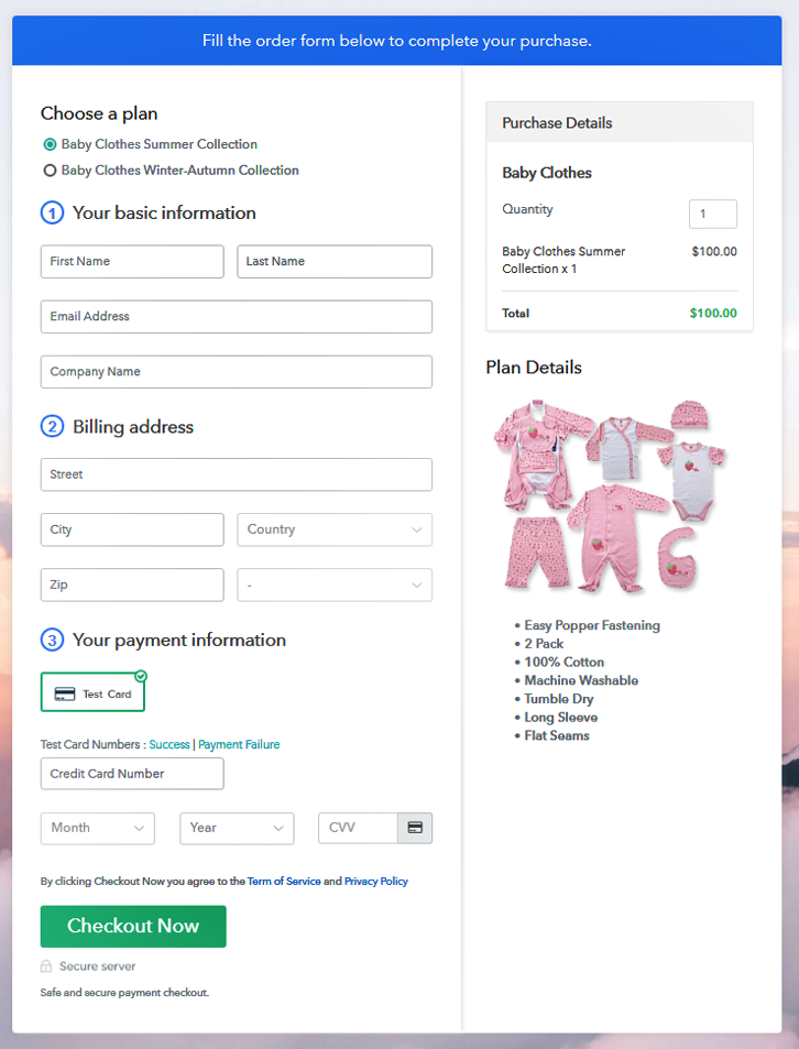 checkout to start selling baby clothes online