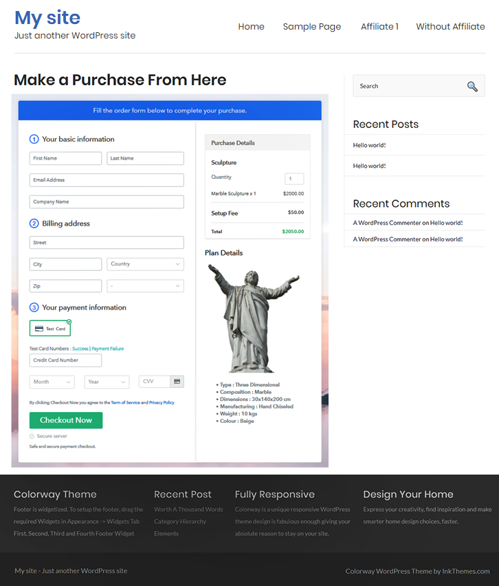 embedding on wordpress to Sell Sculptures Online
