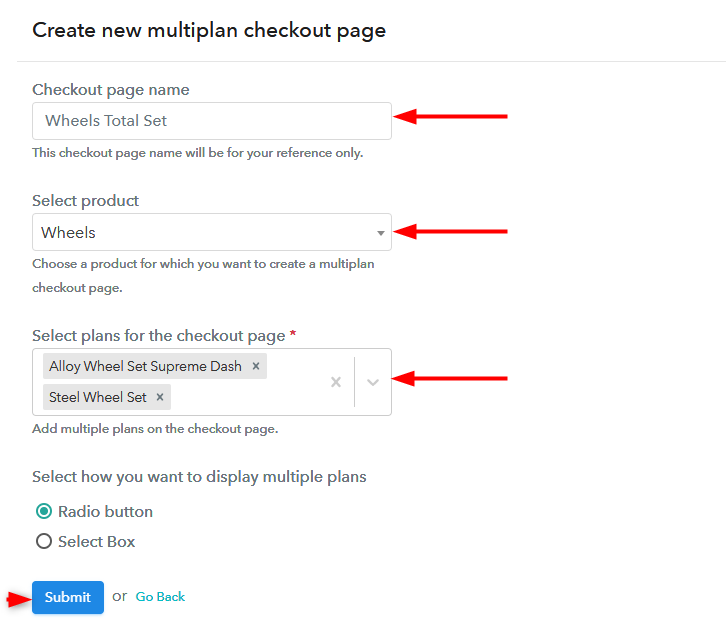 multiplan checkout page sell wheels