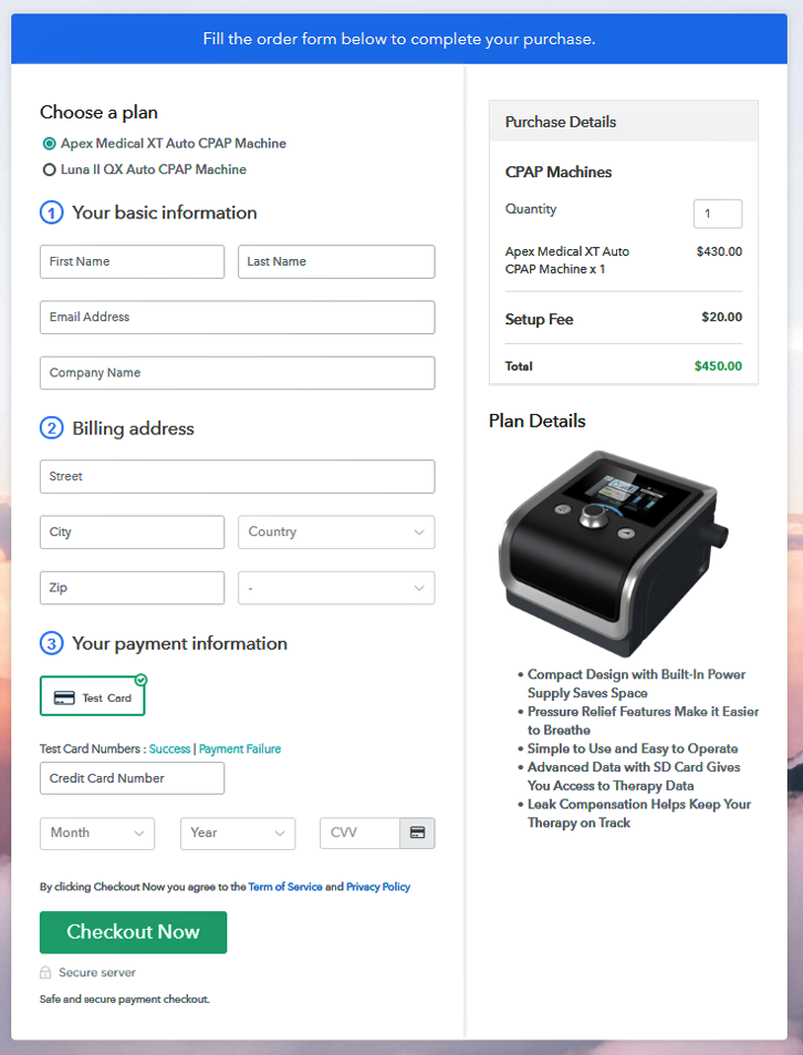 Multiplan Checkout Page to Sell CPAP Machines Online