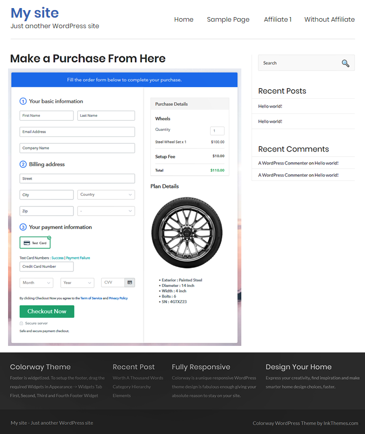 embed on wordpress to sell wheels