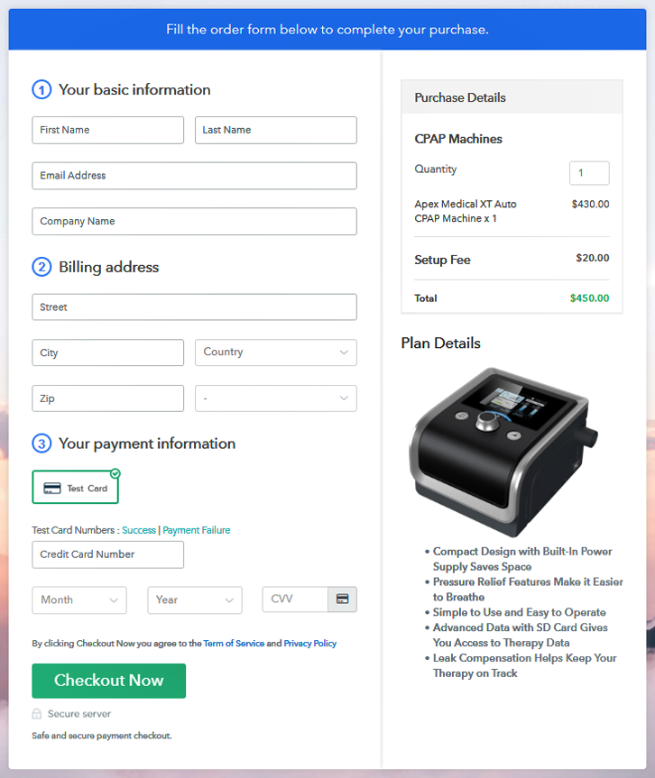 Checkout Image To Sell CPAP Machines Online