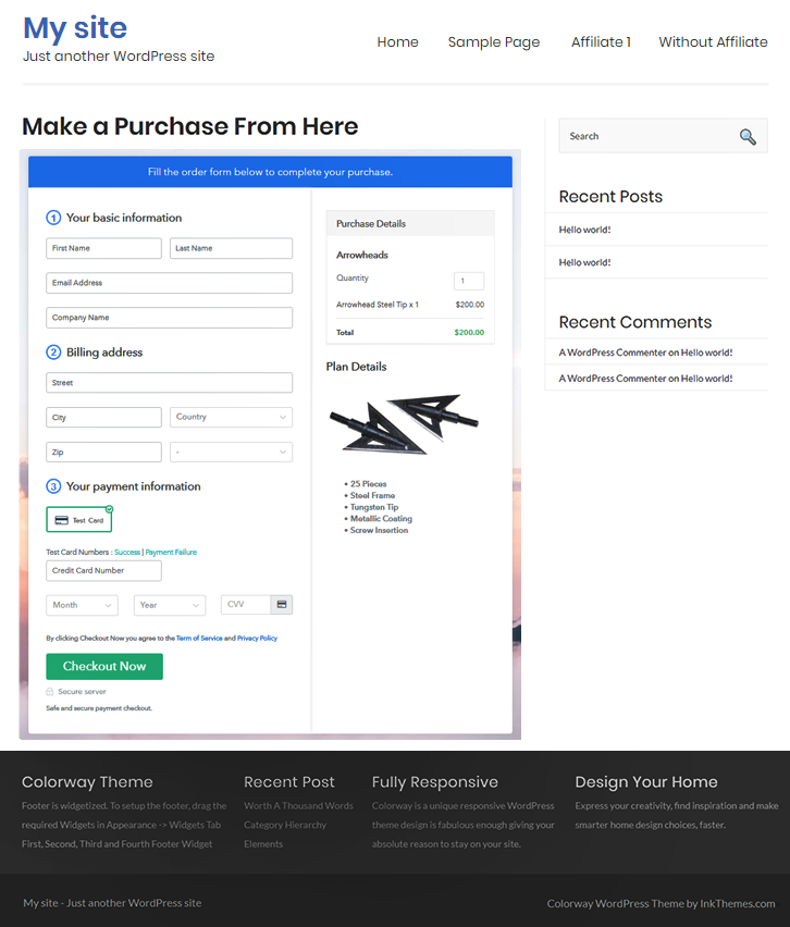 Wordpress Embedding Of Checkout Pages