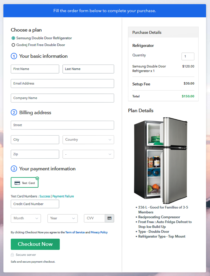 Multiplan Checkout Page to Start Refrigerator Business Online
