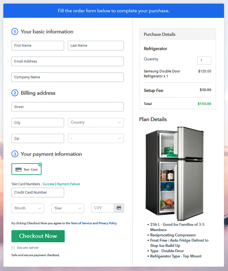 Checkout Page to Sell Refrigerators Online