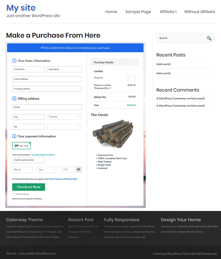 Embed Checkout to Sell Lumber Online