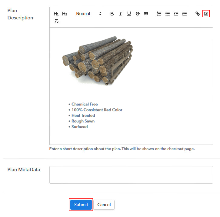 Add description to Sell Lumber Online