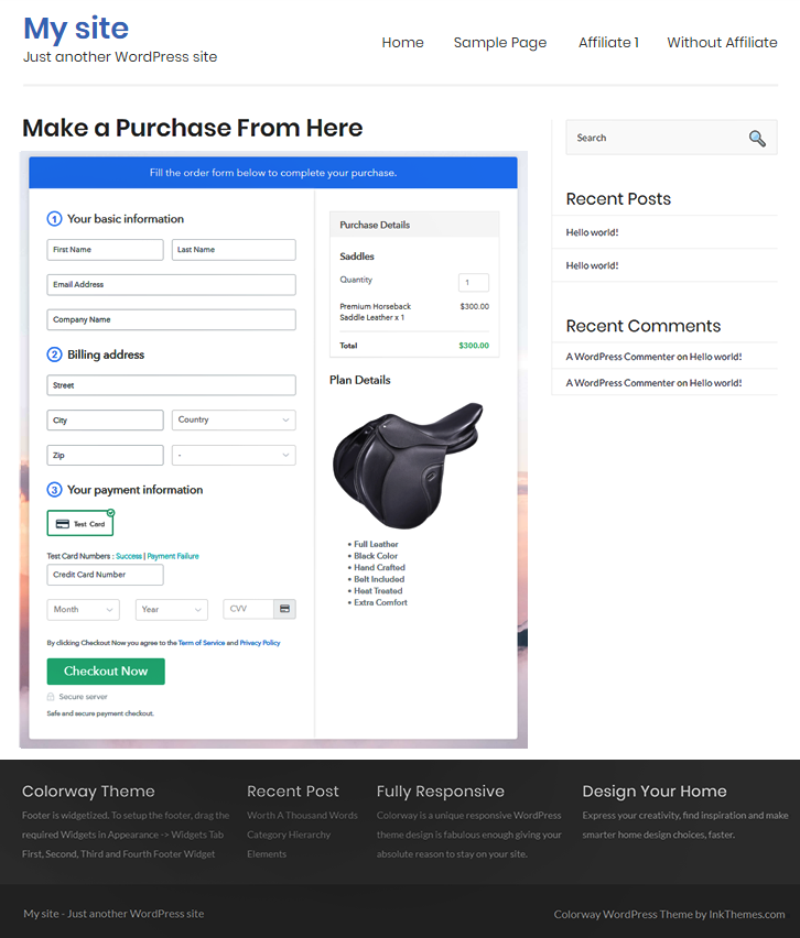 Embed checkout to Sell Saddles Online