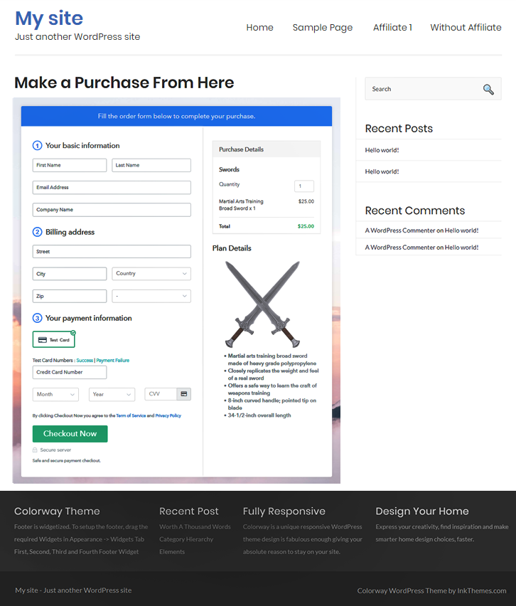 Wordpress Embedding Of Checkout Pages to Start Swords Business Online