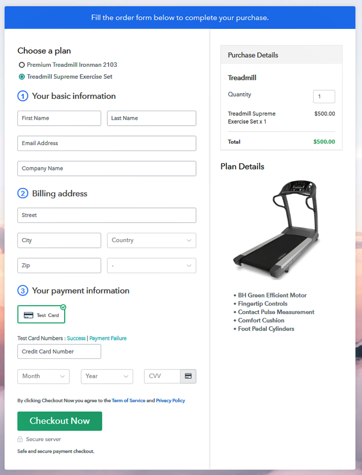 Multiplan Checkout to Sell Treadmills Online