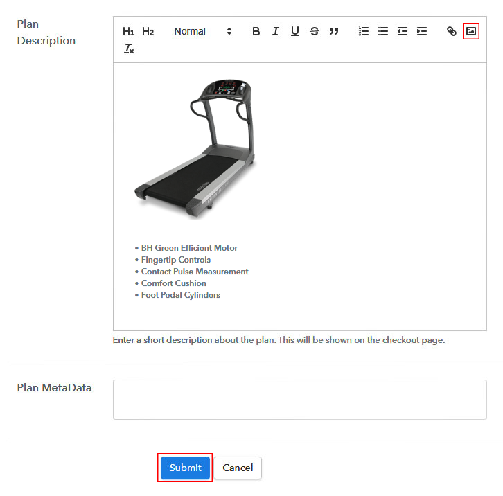 Add description to Sell Treadmills Online