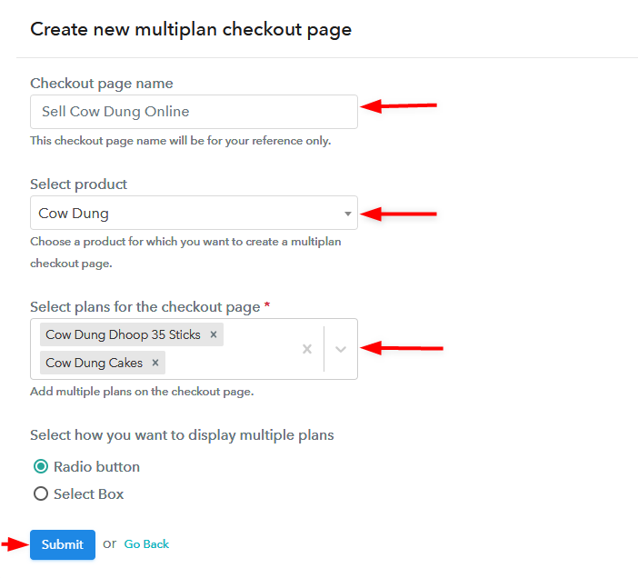 Create Multiplan Checkout Page
