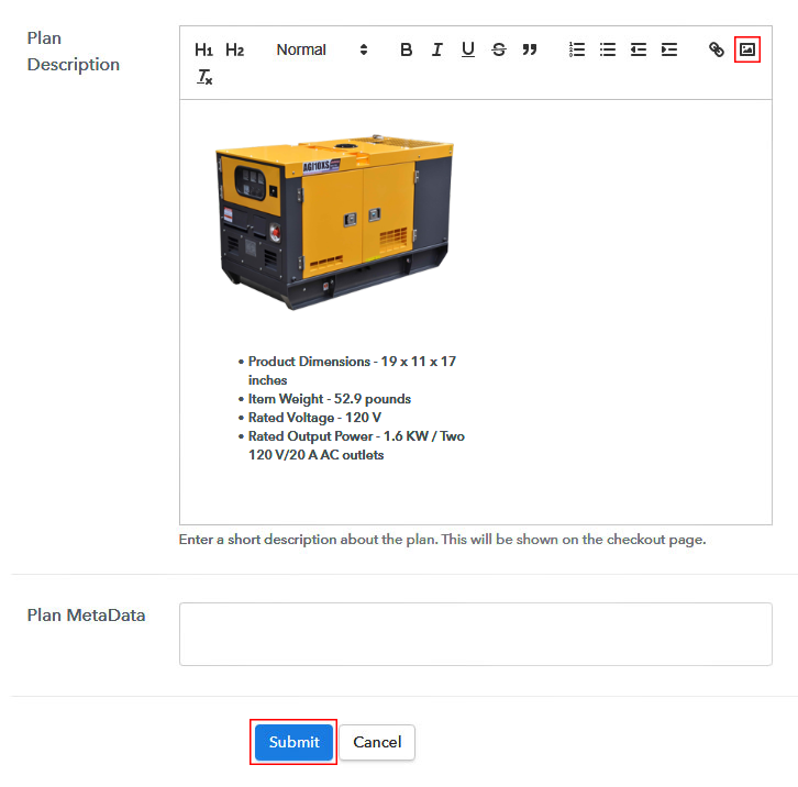 Add Image & Description to Sell Generators Online