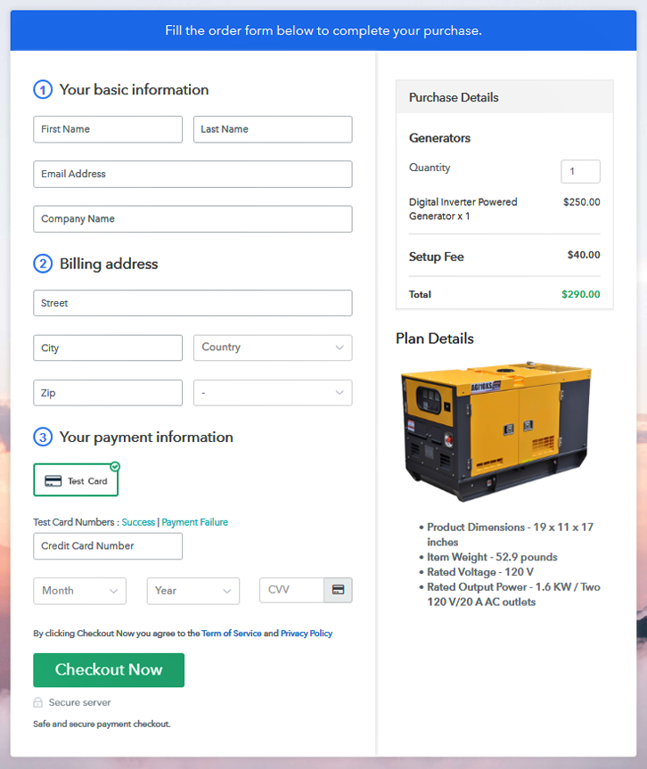 Checkout Page to Sell Generators Online