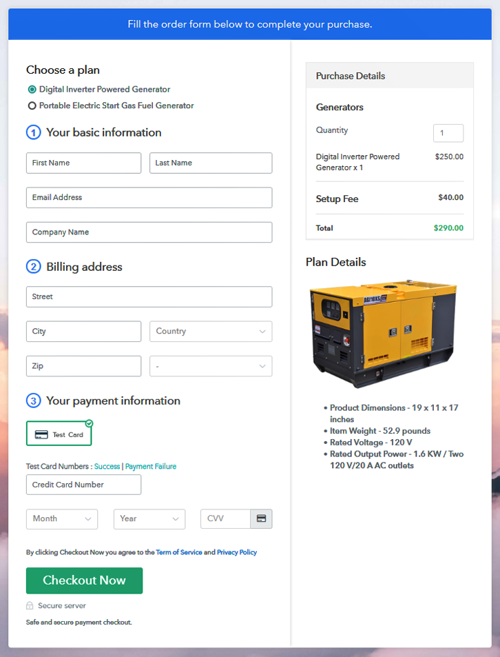 Multiplan Checkout Page to Start Generator Business Online