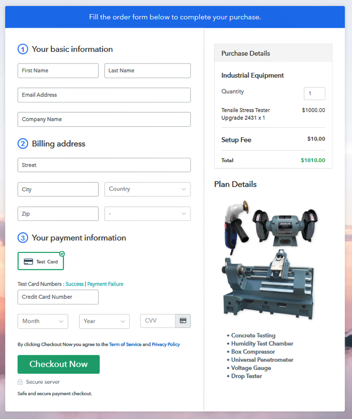 Checkout to Sell Industrial Equipment Online