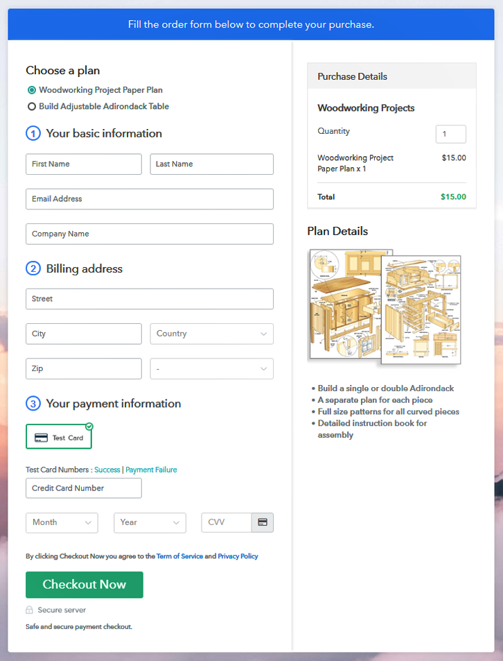 Multiplan Checkout to Sell Woodworking Projects Online
