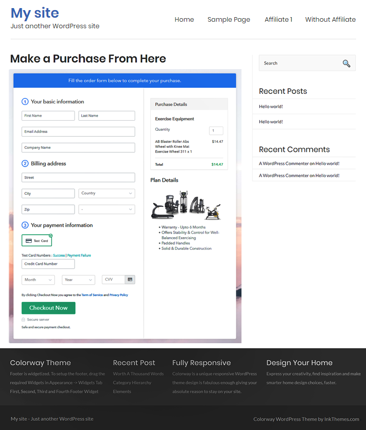 Add Checkout Page to Sell Exercise Equipment Online
