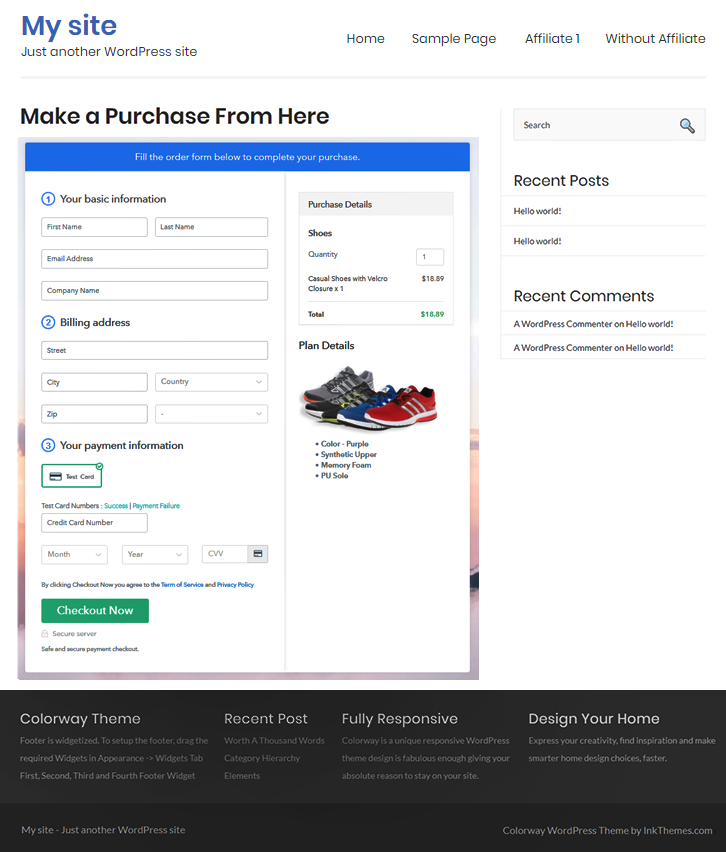 Add Checkout Page to Sell Shoes Online