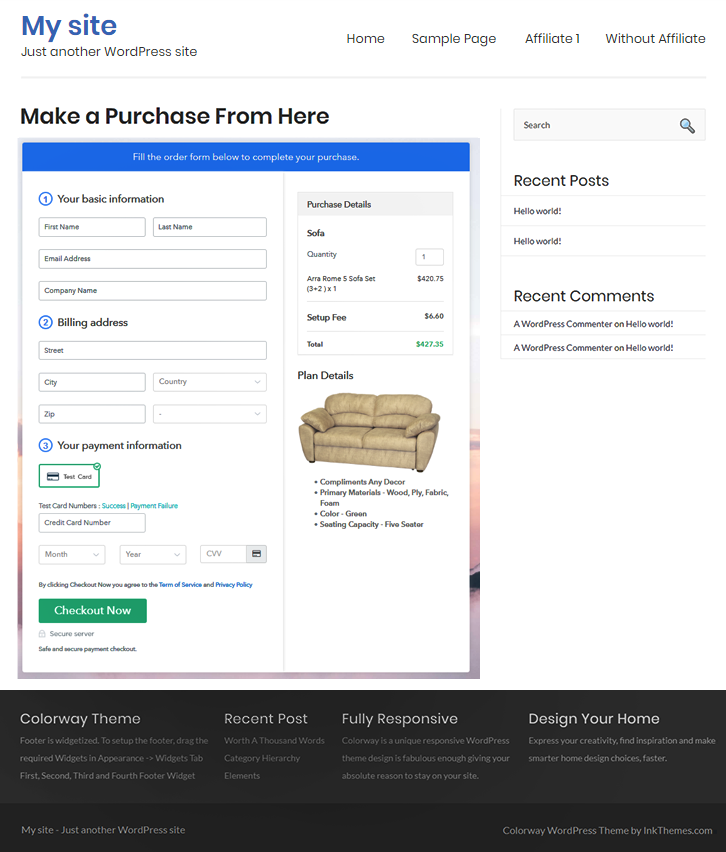 Add Checkout to Sell Sofa Online