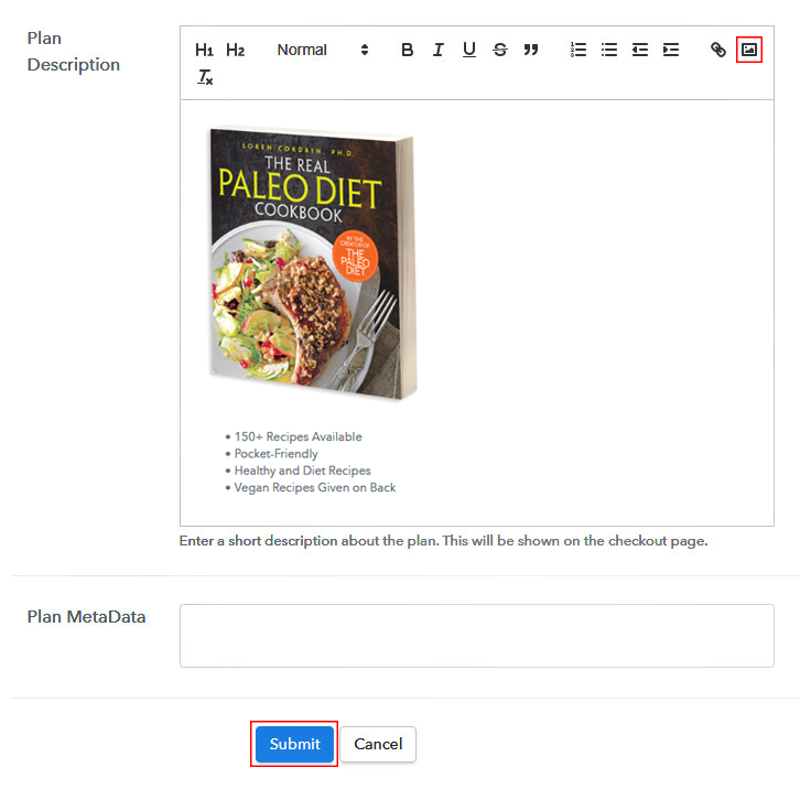 Add Image to Sell Cookbooks Online