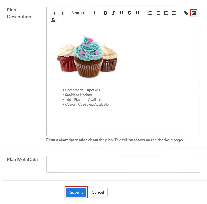 Add Image to Sell Cupcakes Online