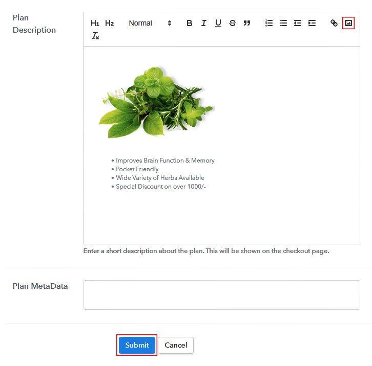 Add Image to Sell Herbs Online