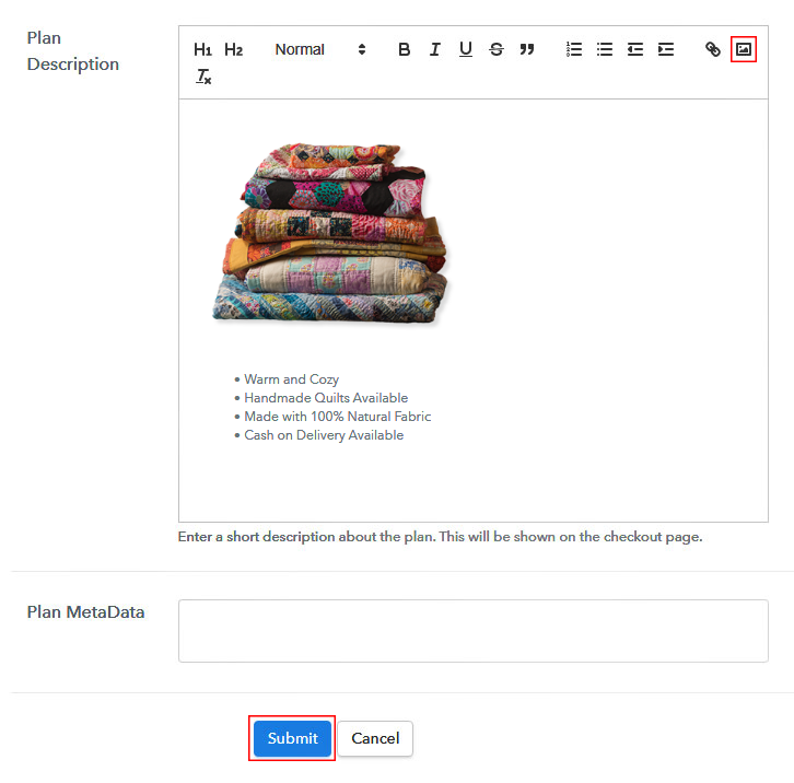 Add Image to Sell Quilts Online