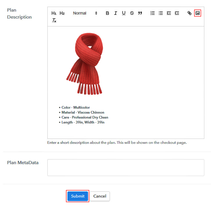 Add Image to Sell Scarves Online