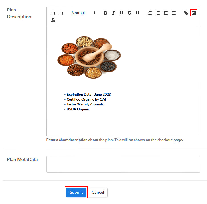 Add Image to Sell Spices Online