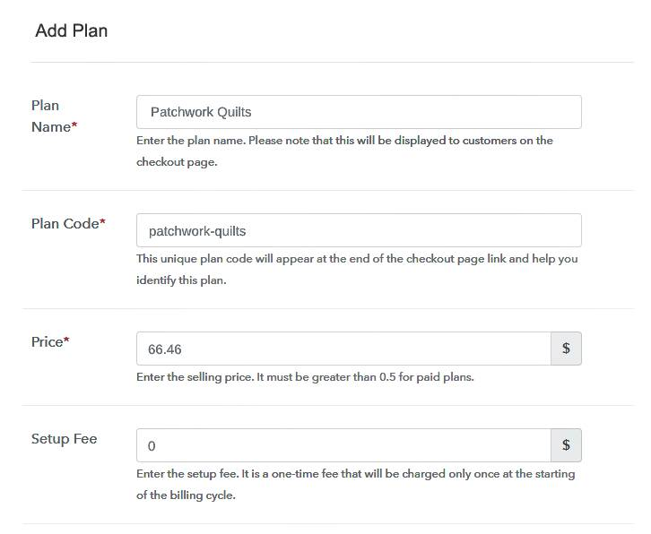 Add Plan Details to Sell Quilts Online