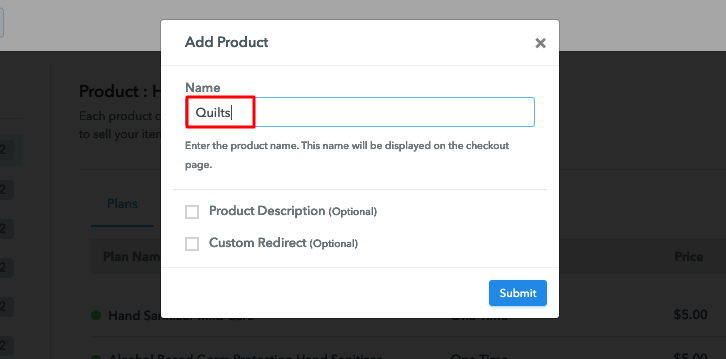 Add Product Name to Sell Quilts Online