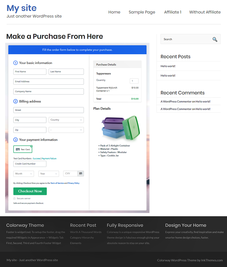 Checkout Page on WordPress Site to Start Tupperware Business Online