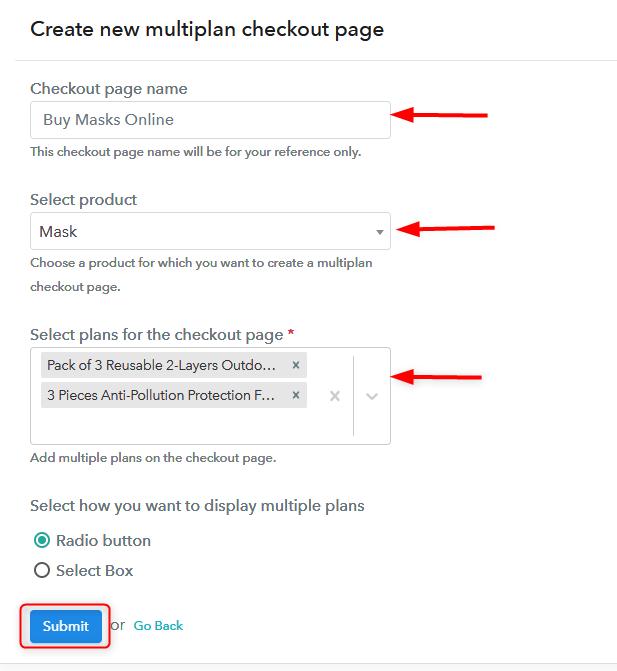 Create Multiplan Checkout