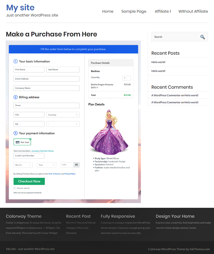 Embed Checkout Page to Sell Barbies Online