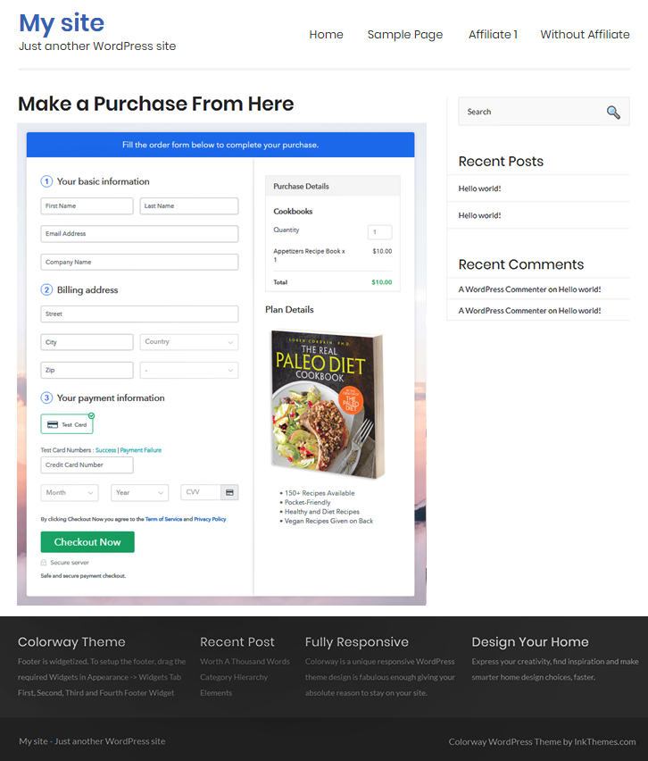 Embed Checkout Page to Sell Cookbooks Online