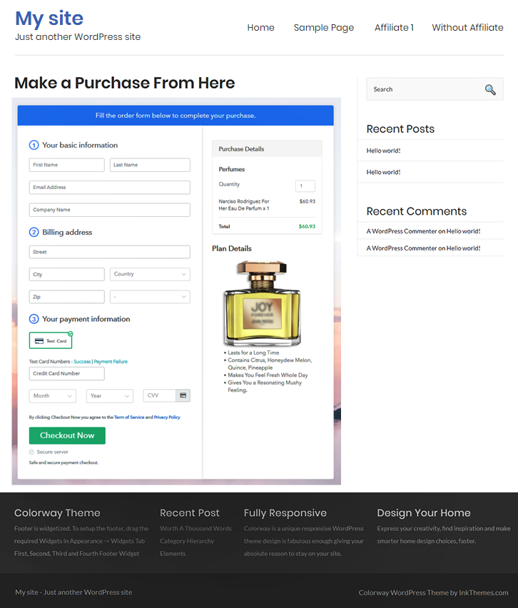 Embed Checkout Page to Sell Perfumes Online