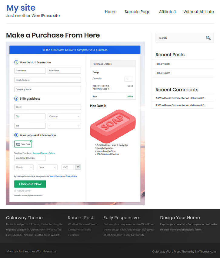 Embed Checkout Page to Sell Soap Online