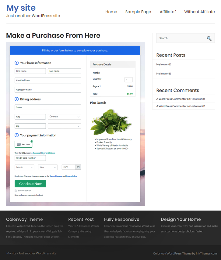 Embed Checkout Page to Website to Sell Herbs Online