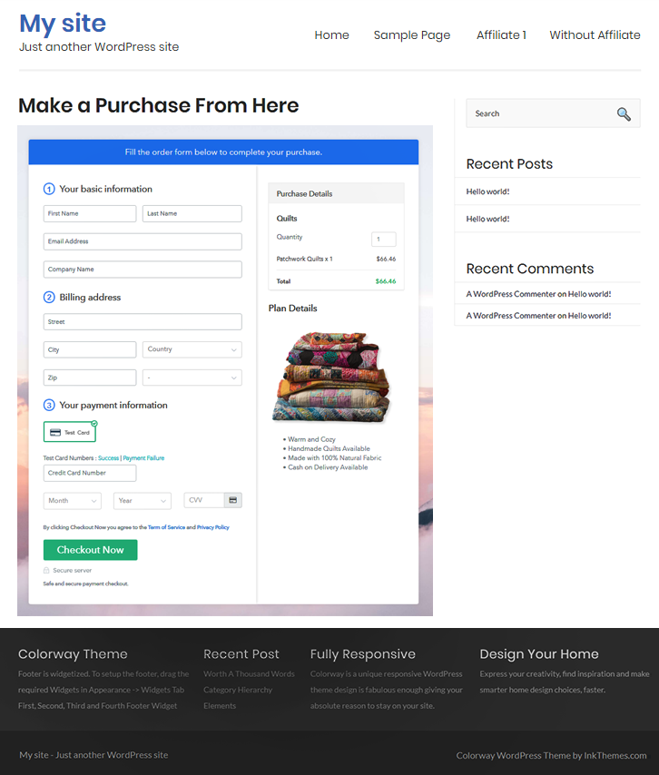 Embed Checkout Page to Website to Sell Quilts Online