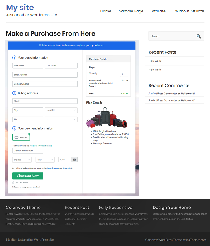 Embed Checkout to Sell Bags Online