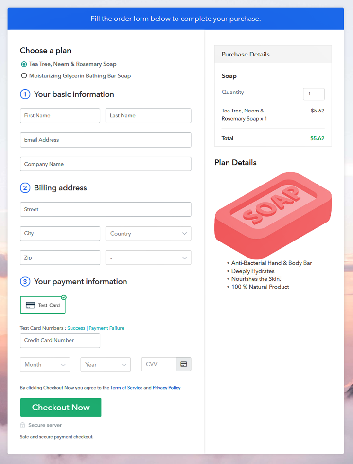 Multiplan Ccheckout to Sell Soap Online