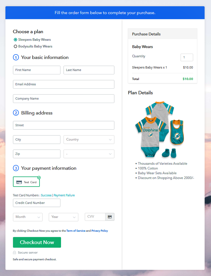 Multiplan Checkout Page to Sell Baby Wears Online
