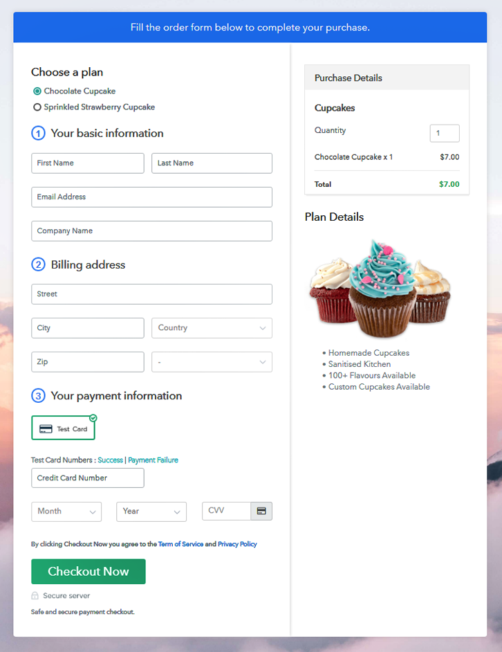 Multiplan Checkout Page to Sell Cupcakes Online