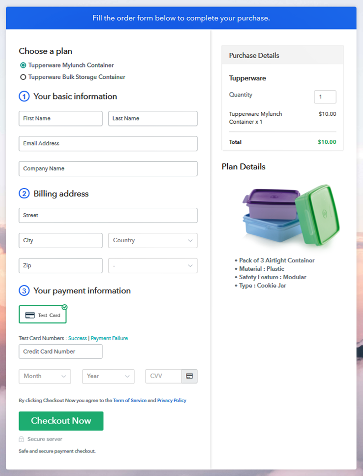 Multiplan Checkout Page to Start Tupperware Business Online
