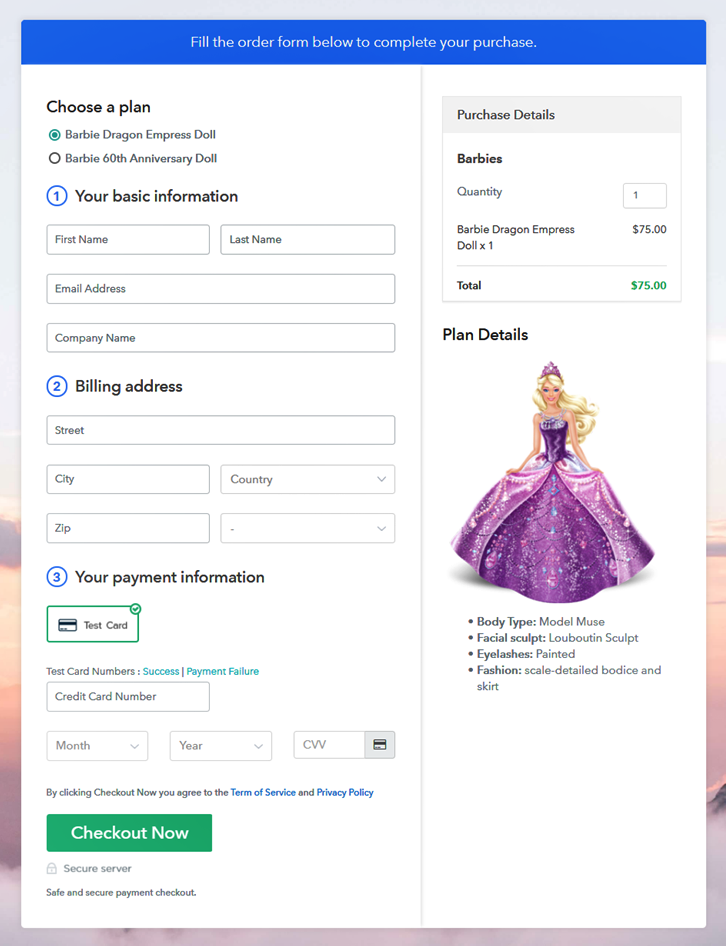 Multiplan Checkout to Sell Barbies Online