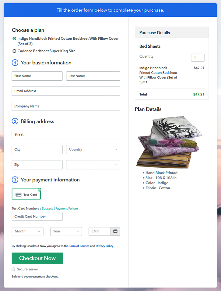 Multiplan Checkout to Sell Bed Sheets Online