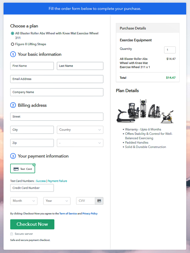 Multiplan Checkout to Sell Exercise Equipment Online