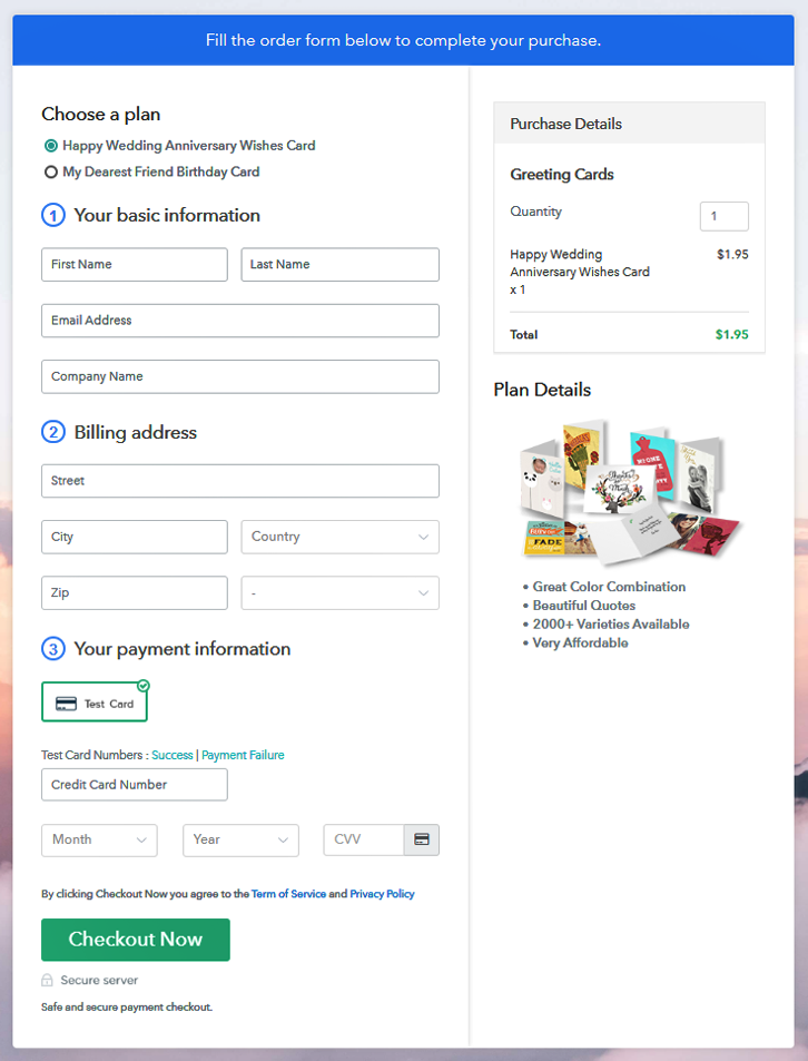 Multiplan Checkout to Sell Greeting Cards Online